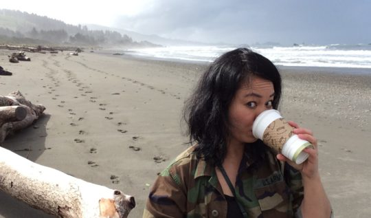 Oregon Coast Selfie - solo traveler photo tips