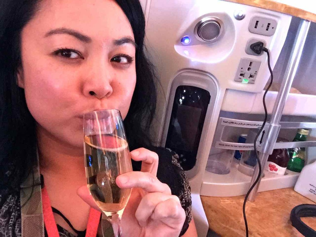 Emirates Business Class Selfie Champagne
