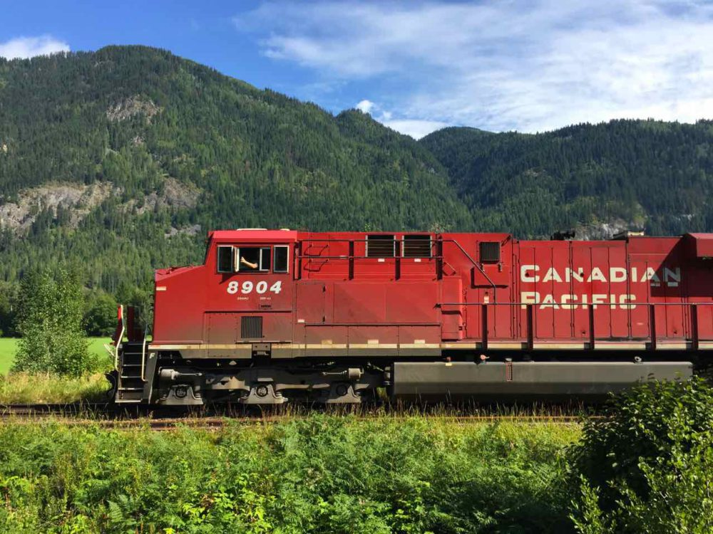 Canadian Pacific Train seen from the Rocky Mountaineer | www.rtwgirl.com