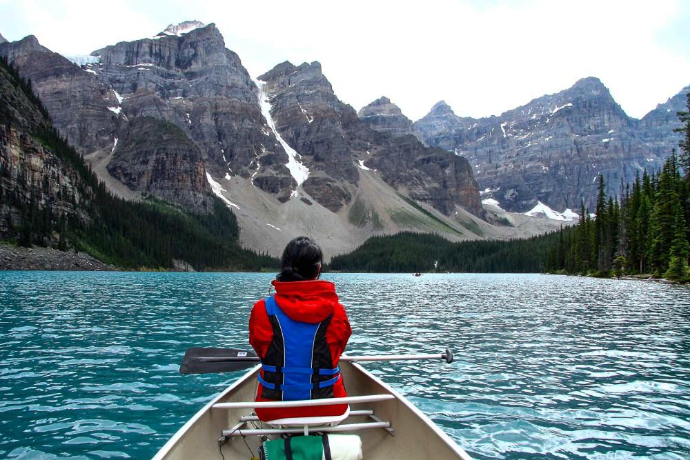 Moraine Lake Canoeing   www.rtwgirl.com