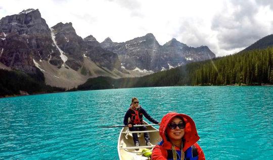 Moraine Lake Canoeing GoPro Selfie   www.rtwgirl.com
