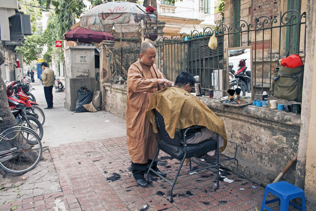 Street barber in Vietnam