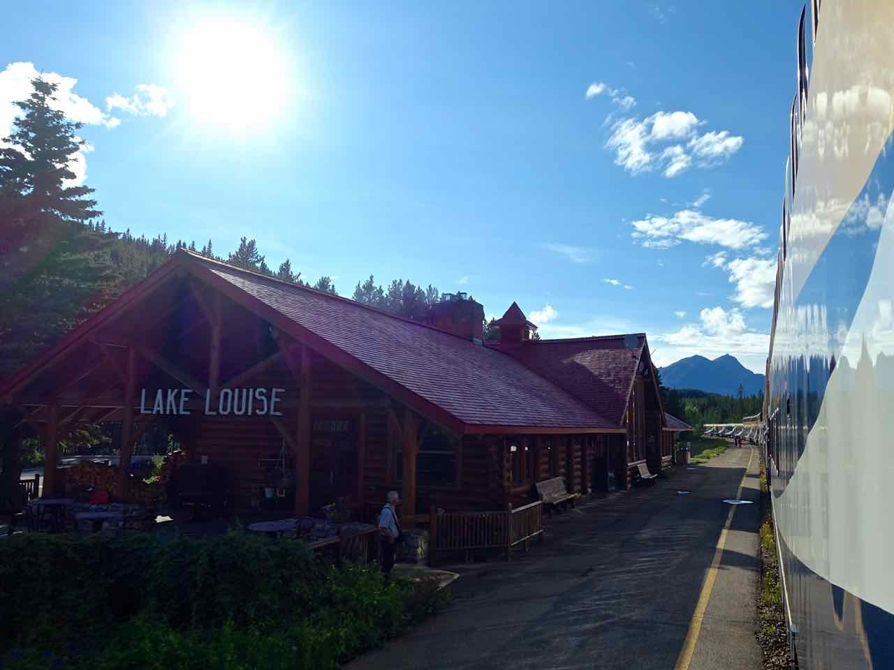 Lake Louise Train Station - seen from the Rocky Mountaineer train | www.rtwgirl.com